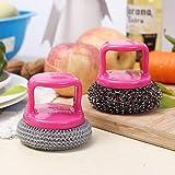 Tabellone Outtybrave filo di acciaio sfera di pulizia in acciaio paglietta scrubber lavaggio Artefatto manico del pennello utensile da cucina