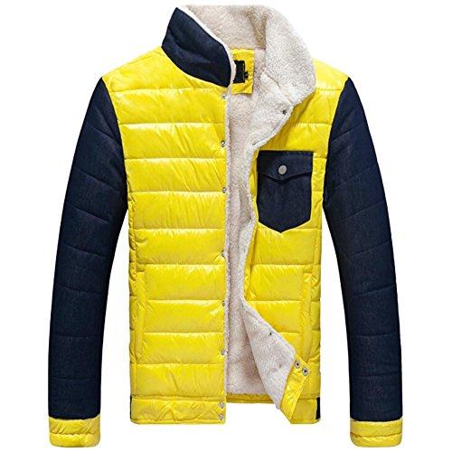 Zrong Herren Winter Stehkragen Verdickt Mantel Jacke Langarm Outerwear Gelb