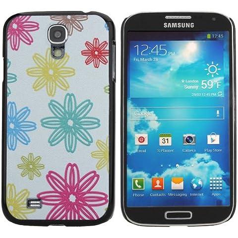 Colorida caja de la flor Patten Protección Alivio para Samsung S4.