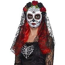 Smiffys Smiffys-44639 Máscara de señorita del día de Muertos, Cara Completa, con