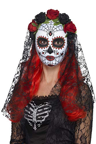 Mexiko Tag Der Kostüm Toten - Smiffys Damen Tag der Toten Senorita Ganze Gesichtsmaske, Rosen und Schleier, One Size, Rot und Schwarz, 44639