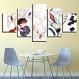 HIMFL Druck auf Leinwand Detektiv Conan Cartoon 5 Panel Wandbilder Conan Edogawa und Kaito Kid Anime Bild Für Zuhause Modern Dekoration,A,20×35×2+20×45×2+20×55×1