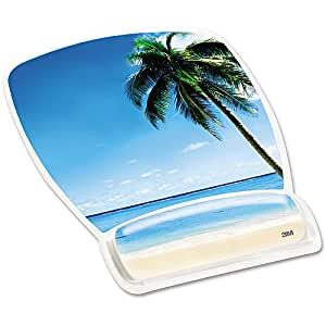 3M Mouse Pad with Gel Wrist Rest, Beach Design (MW308BH)