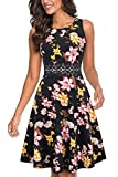 HOMEYEE Damen Vintage Rundhalsausschnitt ärmellosen Blumen Bestickt knielangen Cocktailkleid UKA079 (EU 40 = Size L,Rote Blumen + Gelb)