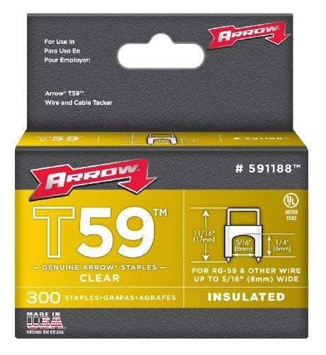Arrow 031033 591188 Boîte de 300 Agrafes isolantes 6 x 8 mm pour Agrafeuse T59