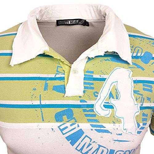 Rusty Neal Herren Polo Shirt Kragen Champoins 4 RN811 Weiß