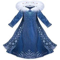 CIRAD Vestido Frozen Niñas Disfraz Anna Elsa (120 (5-6 años))