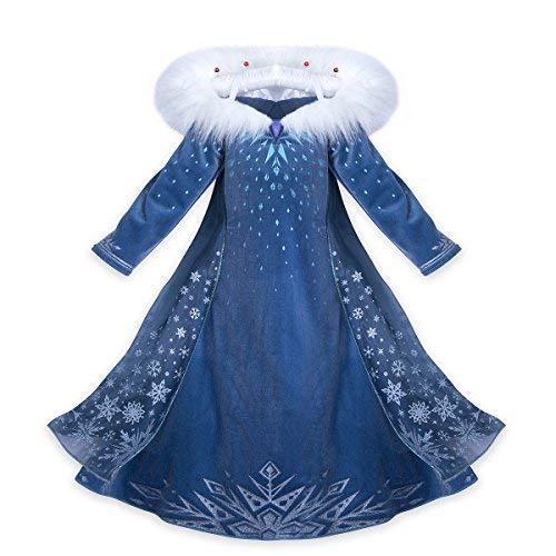 Vestido Frozen Niñas Disfraz Anna Elsa con Varita y Corona (150 ( 8 -9 años ))