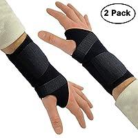 Kurtzy Wrist Support/Brace Carpal Tunnel Splint 2 Pack - Adjustable Black Wrist Strap for Carpel Tunnel Syndrome, Sprains, Arthritis and Wrist Injury