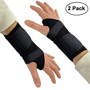 Kurtzy Wrist Support/Brace Carpal Tunnel Splint 2 Pack - Adjustable Black Wrist Strap for Carpel Tunnel Syndrome, Sprains, Arthritis and Wrist Injury