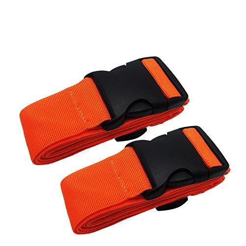 Kofferband Gurt - Koffergurt Gepäckband Verstellbare Koffergurte mit Schnalle Schließung (2-Orange) (Schnalle Schließung Verstellbare)