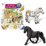 Ravensburger tiptoi® 3-teiliges Set Wieso? Weshalb? Warum? Die Welt der Pferde und Ponys + Tierfigur Friesenhengst + Tierfigur Appaloosa Pony