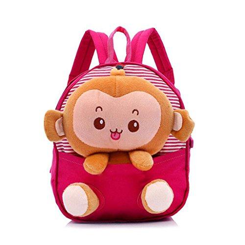 GWELL Süß Affe Babyrucksack Kindergartenrucksack Kleinkind Kinder Rucksack Mädchen Jungen Backpack Schultasche pink