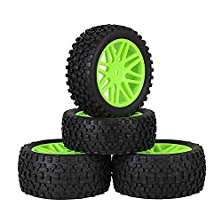 Mxfans Green Plastic 16 Spoke Wheel Rims + Black H Type Rubber Tyres Tires for RC 1:10 Off Road Car Buggy Spare Parts Pack of 4