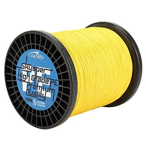 Skysper Fishing Line 100%PE Geflochtene Angelschnur Spule 20lb, 0.165mm*1000m Gelb