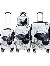 Lot 4 valises Butterfly M, L, XL et vanity rigides renforcées voyage avec mallette maquillage et verrou