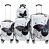 Best Suitcases Sets - 4 Pcs Monzana Butterfly Hardshell Suitcase Spinner Set Review