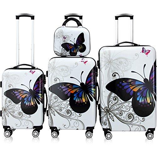 Hartschalenkofferset Butterfly Beauty Reisekoffer Set Komplettset Trolley Koffer Kosmetiktasche ABS mit PC-Beschichtung gummierte Zwilllingsrolle...