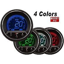 Manómetro Digital de 52 mm para turbocompresor en 4 colores con indicador de presión máxima