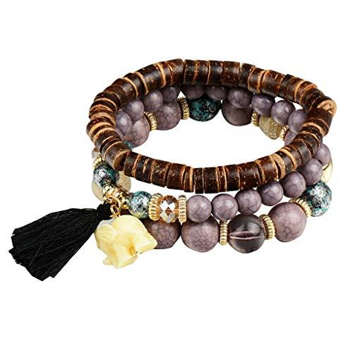 Republe Mujeres Niñas elefante borla colgante pulsera capas multi de la joyería...