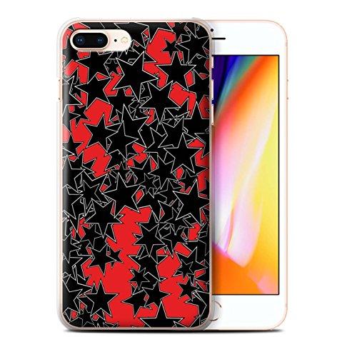 Stuff4 Hülle / Case für Apple iPhone 8 Plus / Zufälliges Rot Muster / Zerstreute Sterne Kollektion Zufälliges Rot
