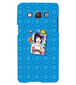 Fuson Blue Pattern Girl Back Case Cover for SAMSUNG GALAXY A5 - D4118