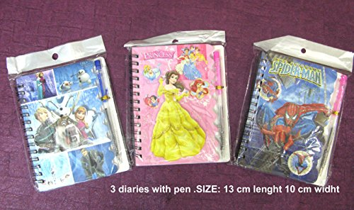 Art box 3 FROZEN/SPIDERMAN/ BARBIE Note pad with PEN free with each pad for Birthday return gifts ( 3 counts)  available at amazon for Rs.170