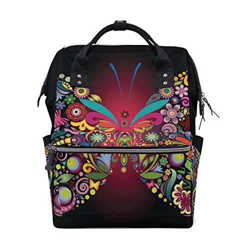 DEZIRO Rucksack/Reisetasche aus Segeltuch, Blumen und Schmetterlinge