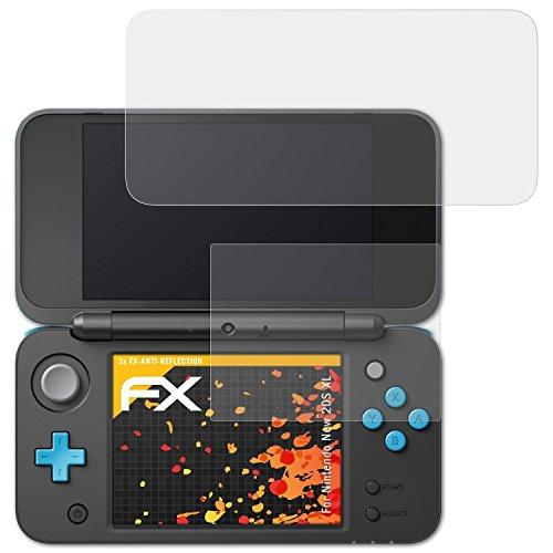 atFoliX Schutzfolie für Nintendo New 2DS XL Displayschutzfolie - 3er Set FX-Antireflex blendfreie Folie