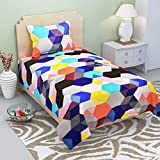 Gurnoor 3D Printed 152 TC Single Bedsheet With Pillow Cover(Multicolor)