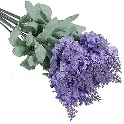 SEAWOOD Künstliche Blumen Lavender Bouquet in lila Künstliche Pflanze für Home Decor Hochzeit, Garten, hellviolett, Einheitsgröße - Blumen-reiniger-spray Seide,