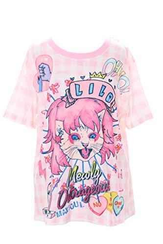Cat Damen Rosa T-shirt (Kawaii-Story T-55 Rock´n Roll Queen Cat Katze rosa Karo T-Shirt Pastel Goth Lolita Japan Harajuku)