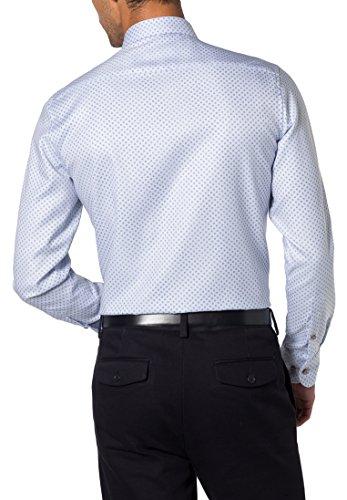 ETERNA long sleeve Shirt SLIM FIT Natté printed azzurro chiaro