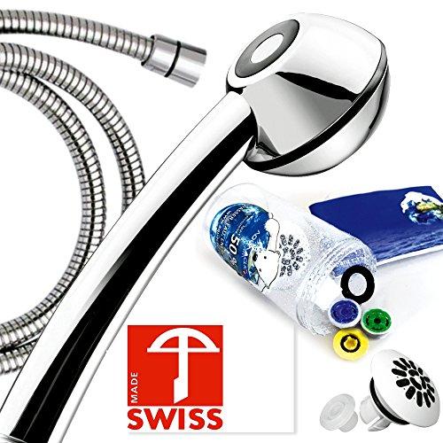 Duschkopf-Set wassersparend BLACK POWER mit Edelstahl- Brauseschlauch, PVC-frei: Duschbrause mit Massagestrahl, kalkfrei, 3 Mengenregler für 4 Durchflussmengen, Aufsatz für weichen Regenstrahl