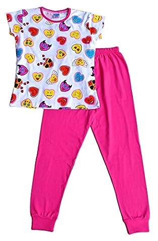 Pink and White Teenage Girl's Long Pyjamas EMOJI Style Long Pjs 9 to 13 Years (11-12 Years)