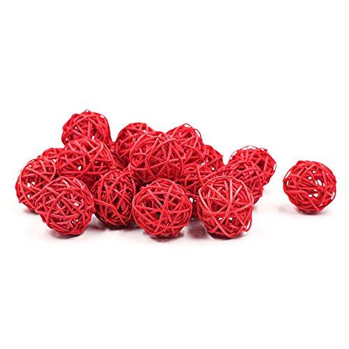 Zhi Jin 20Pcs Natural Wicker Rattan Balls Table Wedding Party Hanging DIY Pet Toy Ball Festival Decorative 7CM Red