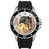 Timest - Pferd mit Fohlen Motiv Uhr Unisex mit Silikonarmband in schwarz Rund Analog Quarz CSE024