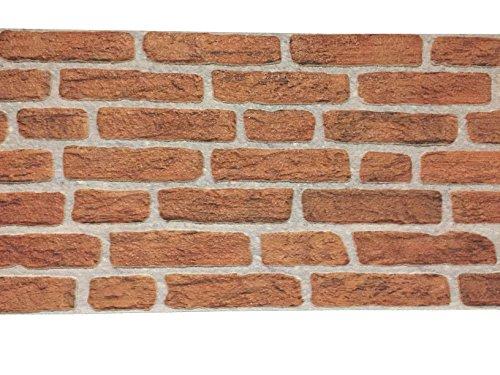 Wandverkleidung in Steinoptik aus Styropor für Küche • Terrasse • Schlafzimmer • Wohnzimmer | Wandpaneele für mediterrane Wandgestaltung | 120cm x 50cm x 2cm Rot (Dusche-badewanne-wand-platten)