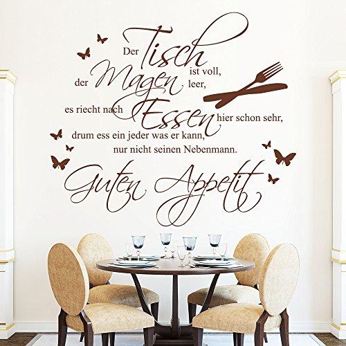 """Wandtattoo Loft Schriftzug: \""""Der Tisch ist voll...Guten Appetit"""" - Wandtattoo / 49 Farben / 3 Größen/ Wandaufkleber für Esszimmer oder Küche/ Wandsticker / haselnussbraun / 80 x 91 cm"""
