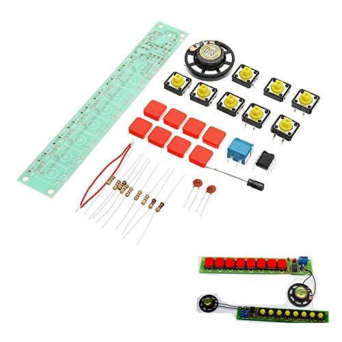 ILS - 3 Stück DIY NE555 Elektronisches Klavier Orgel Keyboard Modul Kit mit Batterie-Box und Button-Cap-Teile Power Cap Batterie