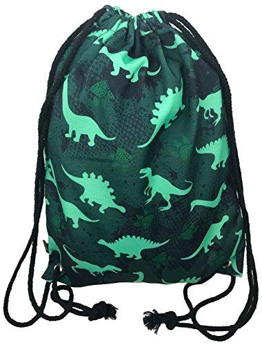 (Jungen, Jungs Turnbeutel Tasche - beidseitig mit coolem Dinosaurier Dino Motiv bedruckt - für Kindergarten, Krippe, Reise, Sport - geeignet als Rucksack, Spieltasche, Sportbeutel, Schuhbeutel - HECKBO)