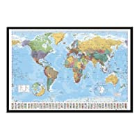World Map Pin Board Framed In Black Wood Includes 100 Pins - 96.5 x 66 cms (38 x 26 inches)