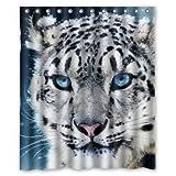 CHATAE Custom Snow Leopard Weiß Tiger Face Duschvorhang 152,4x 182,9cm Badewanne Vorhang