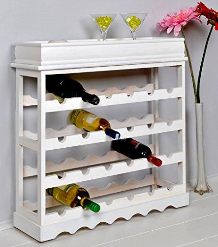 Weinregal Weiß für 24 Flaschen Flaschenregal weißes Holz - 9
