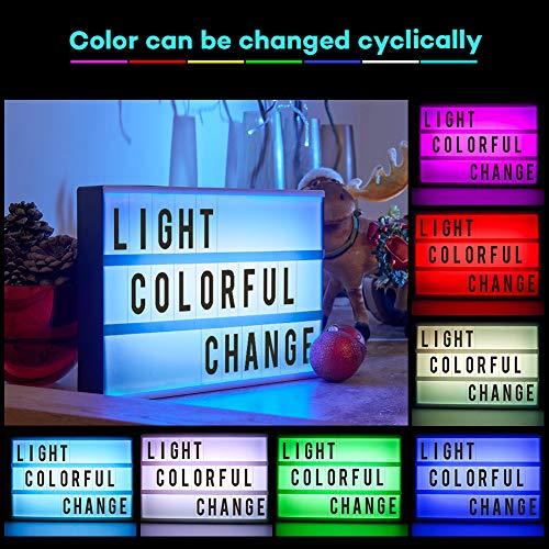 Light Box A6,CrazyFire LED Ricaricabile Cinema Box Luminosa Cinematografica Lampada,140 Lettere e Digitale,Utilizzato in Feste,Tag da Ufficio,Appuntamenti,Decorazioni da Bar(Illuminazione in 7 Colori) - 2