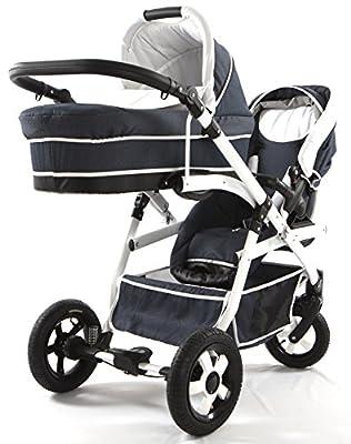 Carro doble (gemelar) niños diferentes edades. 2 sillas + 1 capazo + accesorios. Vaquero