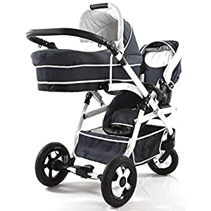 Double stroller tandem. 2 kids different ages. 2 buggies + 1 carrycot. Denim   10