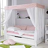 Pharao24 Kinder Himmelbett mit Ausziehbett Weiß Rosa