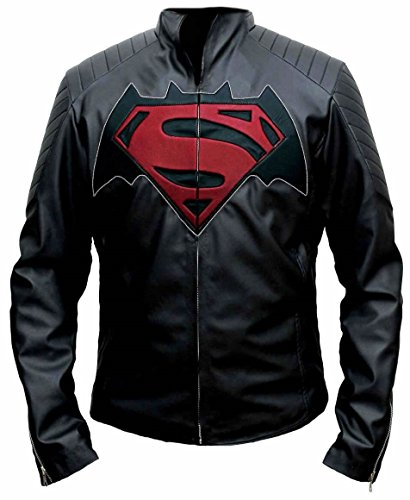 Bestzo Mens Batman vs giacca di pelle super-uomo in pelle sintetica Black XS