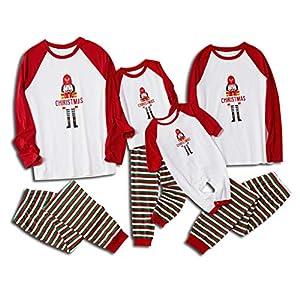 SCU-SS Pijamas Navidad A Juego Familia Papá Mamá Bebé Mono Dibujos Animados Manga Larga Tops Pantalones Padre-Hijo Ropa 2 Piezas Dormir (Color : Baby(50)) 9